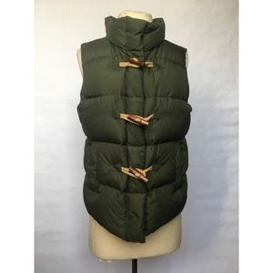 J. Crew Olive Green Quilted Down Puffer Vest - S